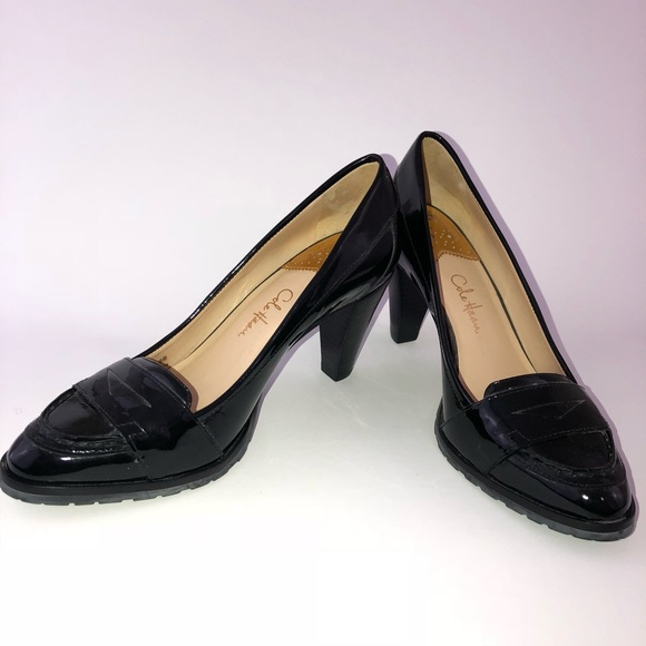 385fd63b451 Cole Haan Shoes - COLE HAAN Black Patent Leather Heels Penny Loafer